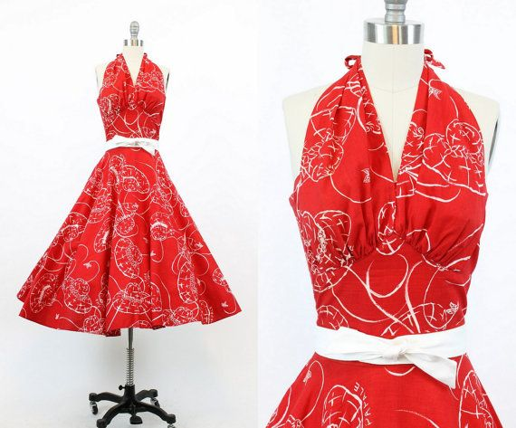 50s Dress Novelty Print Halter XXS / 1950 Vintage Dress Hawaiian Hat Print / Lahaina Dress