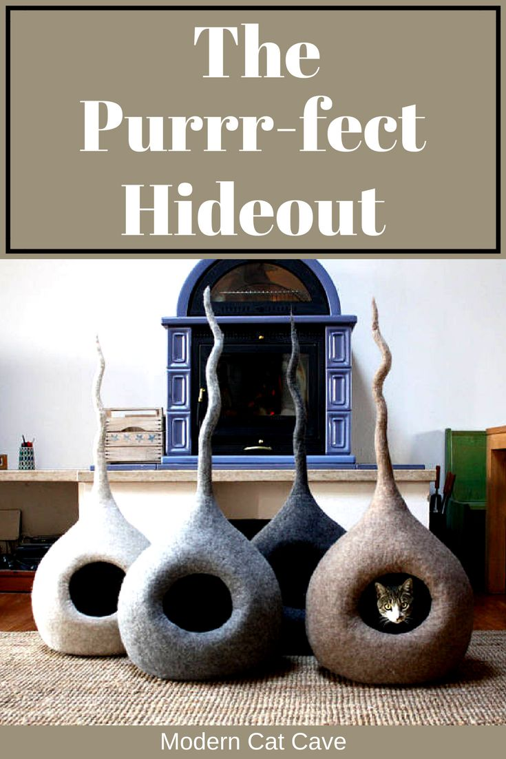 A Wooly Cat Cave is a perfect secret shelter for your cat to nap, but it is also a fun place to play. #moderncatfurniture #catfurniture #catcave #handmadecatcave #moderncatcave #catbed #woolcatbed #handmadecatbed #handmadewoolcatbed #ilovecats #affiliate
