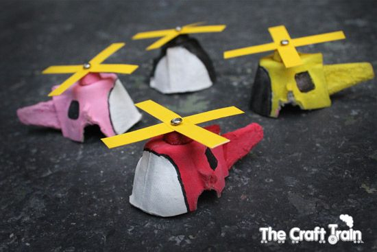 Egg carton mini helicopters!