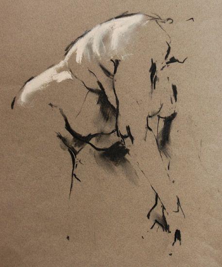 Artist: Crawfurd Adamson, charcoal & pastel nude figure drawing