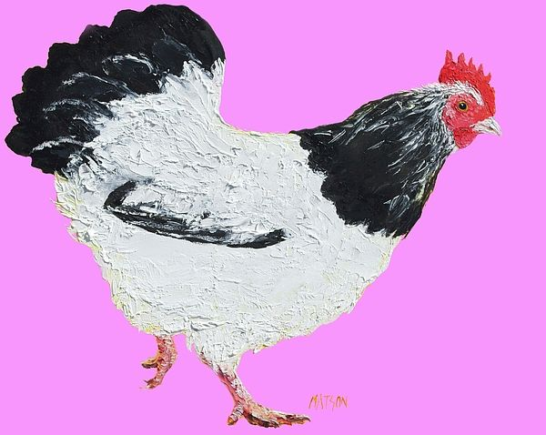 Black and white chicken on pink   #kitchenwalldecor #kitchenart #countrykitchendecor