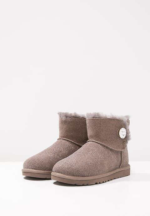 Chaussures UGG MINI BAILEY BUTTON BLING SEREIN Boots à talons stormy grey gris clair
