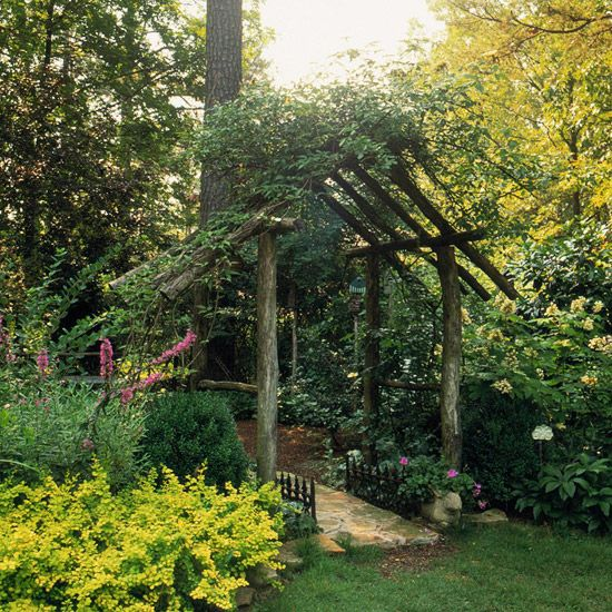 Sturdy Rustic Arbor----We are going to build this over our existing patio.  We have a pergola that requires we replace the canvas awning every year or two.  I like this natural look so much better!