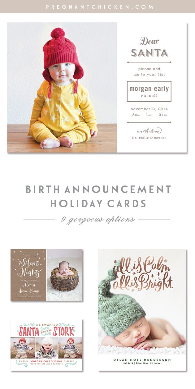 Christmas and holiday birth announcement ideas for boys and girls. Check out these templates and get picture and wording suggestions for the cutest announcement this holiday.