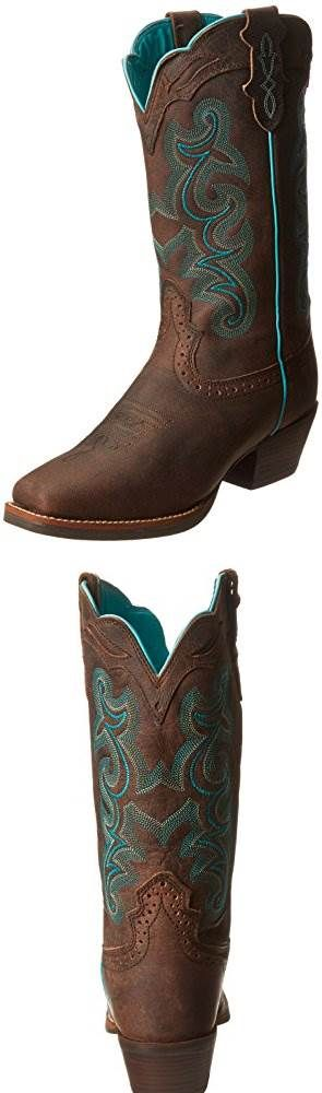 Justin Boots Womens Silver Collection 12 Punchy Boot Wide Square Single Stitch Brown Rubber Outsole #SHOES
