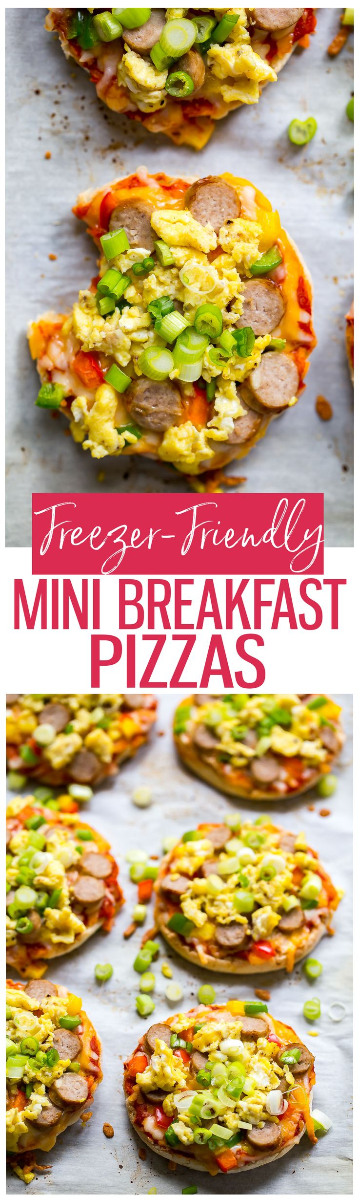 Freezer-Friendly Mini Breakfast Pizzas with turkey sausage and egg are the perfect grab and go option for those busy weekday mornings! Pop one in the microwave and enjoy on-the-go!