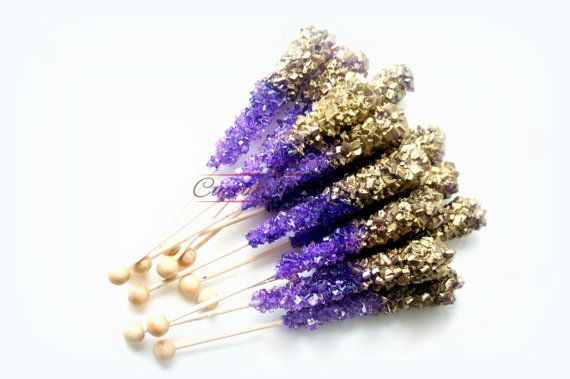 Buy Online! Elegant & delicious Purple Gold themed Rock candy with pretty gold finish! Great for a purple gold bridal shower, baby shower, Purple Gold wedding favors, dessert table treats, a girly purple & gold themed birthday, baby shower or bridal shower party or for a beautiful Purple & Gold Wedding dessert table or favors!