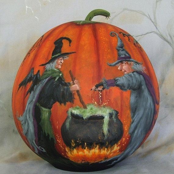 Toil and Trouble Halloween gourd hand painted by SuzysSantas, $95.00
