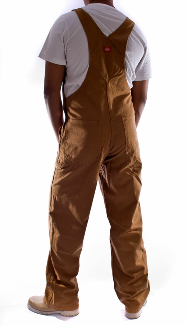 Regular fit brown denim work dungarees/overalls for men from Dickies. £75 from dungarees-online.com
