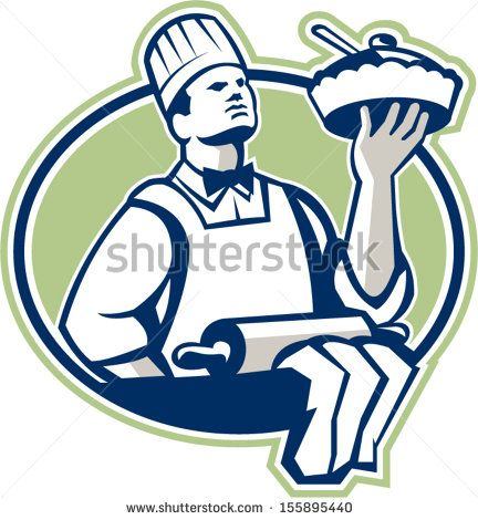 Illustration of a baker chef cook holding serving pie with roller in foreground set inside oval done in retro style. - stock vector #pastrychef #retro #illustration