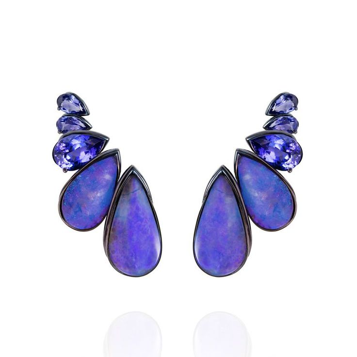 Fernando Jorge Arara earrings in blue rhodium-plated gold with tanzanites, Boulder opals and diamonds. Find out everything you need to know about opulent opals: from the green, blue, purple, orange hue to the location, and the important designers using the gemstone: http://www.thejewelleryeditor.com/jewellery/know-your-opals-welo-australian-mexican-jewellery/ #jewelry