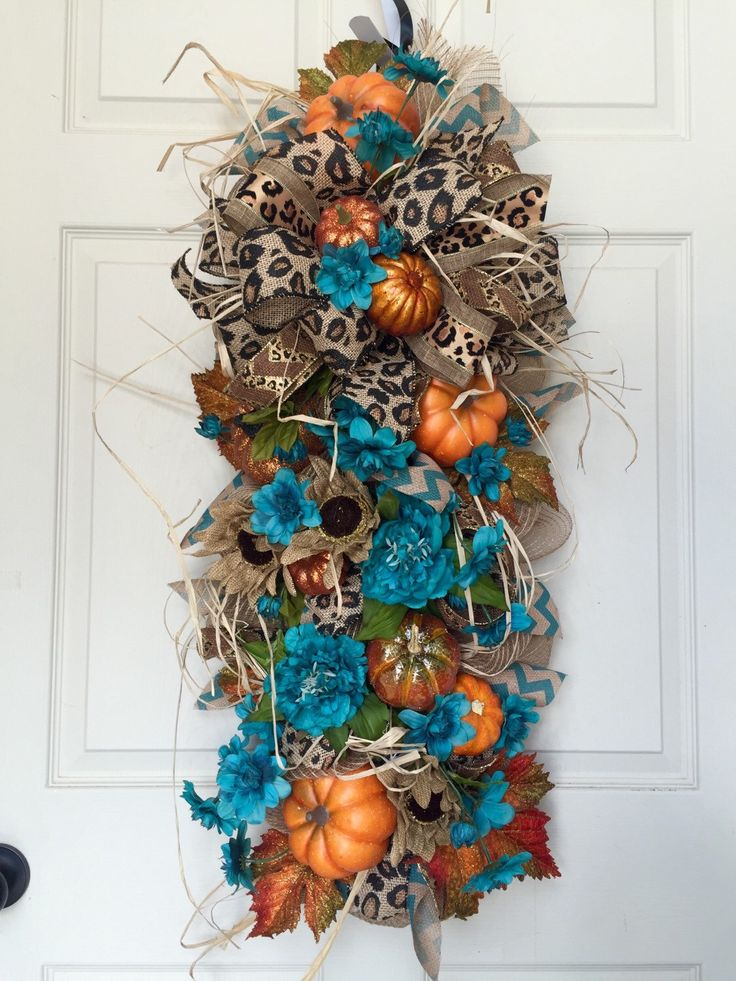 Fall or Autumn Leopard Door Swag Mesh Wreath by WilliamsFloral on Etsy…