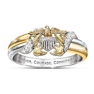 U.S. Navy Diamond Embrace Ring With Sculpted Navy Emblem