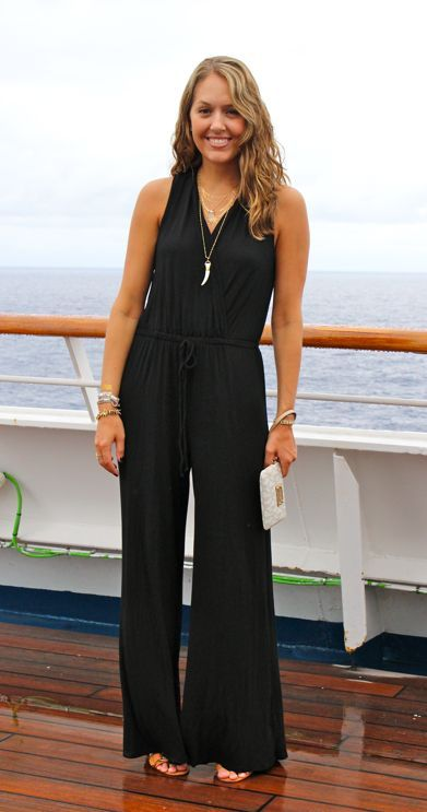 Can't decide how I feel about jumpsuits - one like this could be cute for dinner at the beach.