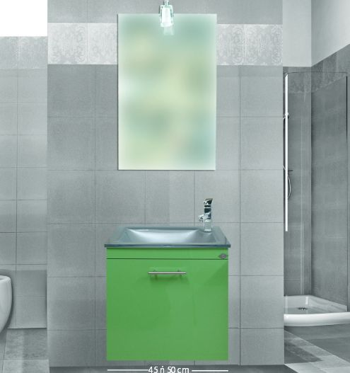 χρωματιστό έπιπλο για μικρό μπάνιο