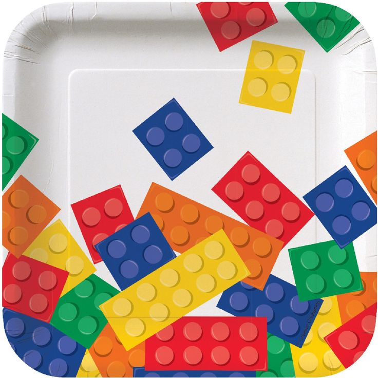 Awesome Party Supplies Building Block Party Square Dessert Plates just added...