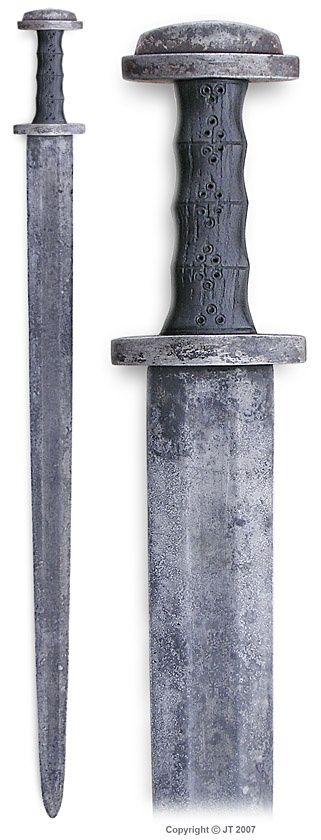 Merovingian sword from Finland. Pattern welded blade, crossguard & pommel of wrought iron, grip is of black oak. http://www.kp-art.fi/jt/miekat/03.html