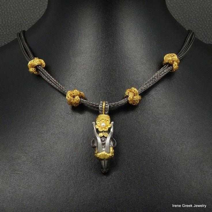 RARE LUXURY RAM 925 STERLING SILVER 22K GOLD & BLACK RHODIUM PLATED NECKLACE #IreneGreekJewelry #Collar