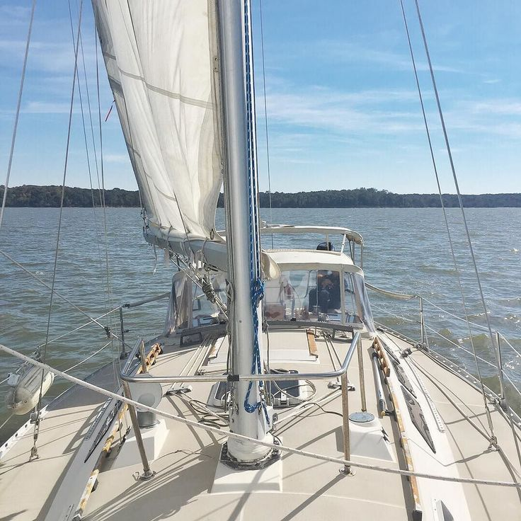 "I love to stand at the bow and look back at this beauty that is all ours! I can't believe when we started our sailing journey we stepped aboard a 25"" Catalina and thought ""No way we will never have a boat this big!"" Yet here we are 6 years later with our very own O'day 40"". Over the years we've grown as sailors and grew our family too so moving up was inevitable. This is our weekend getaway our home away from home our vacation spot and the place we come just to hang out and spend the night…"