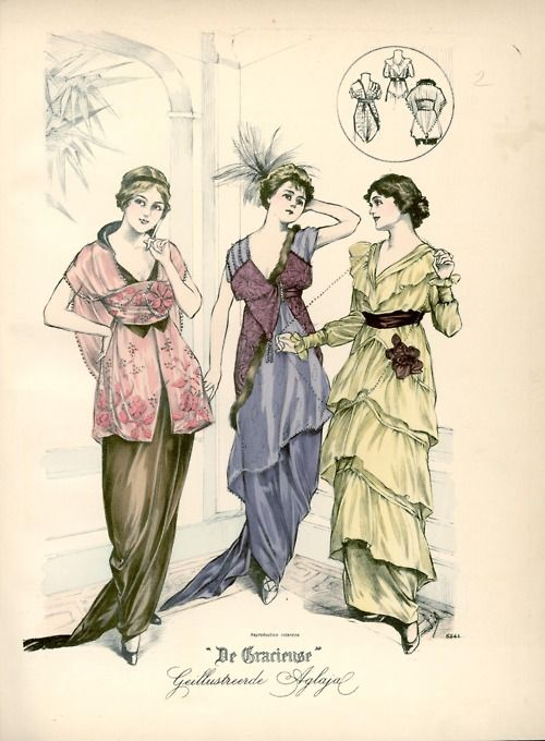 Evening dresses, 1914 the Netherlands, De Gracieuse  Here's a recolor (or maybe the original?) from Journal des Demoiselles: