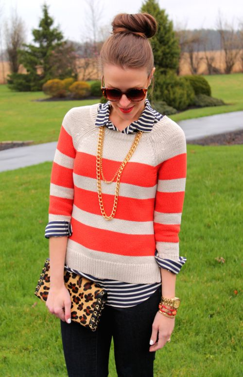 stripe on stripe: Colors Combos, Dreams Closet, Mixed Patterns, Outfit, Mixed Prints, Leopards, Stripes, Cheetahs Prints, Patterns Mixed