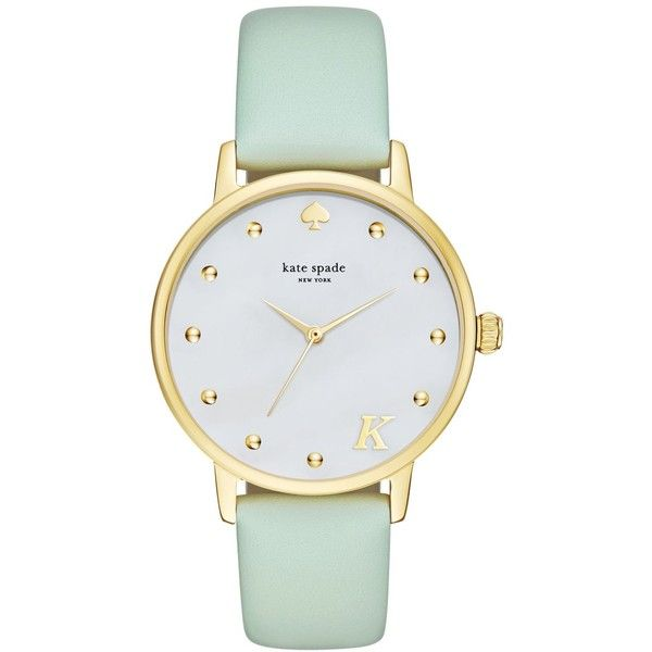 kate spade new york Women's Monogram Metro Mint Splash Leather Strap... ($195) ❤ liked on Polyvore featuring jewelry, watches, k, mint green watches, mint green jewelry, kate spade, kate spade watches and mint jewelry