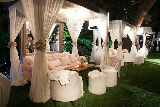 LOS ANGELES / HOTEL BEL-AIR:  Cocktail Hour with Cabanas and blush/white accents