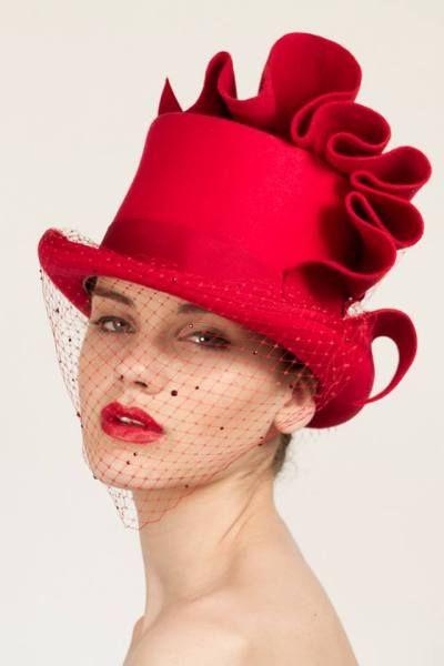 Red Felt top hat -Georgina Heffernan Millinery #HatAcademy #millinery