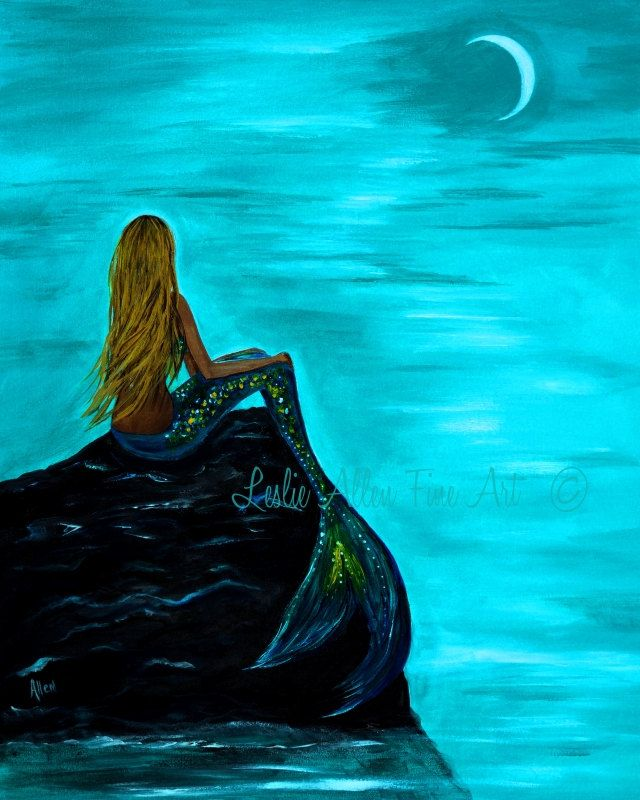 Leslie Allen Fine Art — Mermaid Art Print Mermaid Painting ...