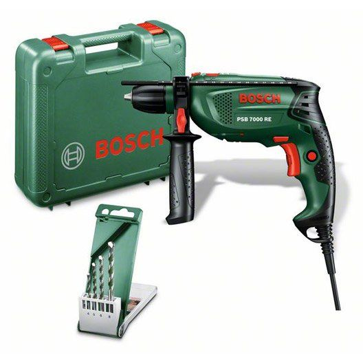 Perceuse filaire à percussion BOSCH PSB 7000 RE 1vitesse 680 W + 4 forets
