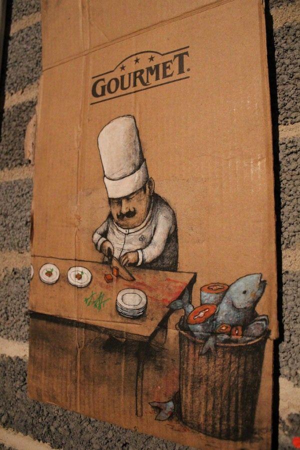 """Vous avez dit """" Nouvelle cuisine""""... ? / Ne gaspillons pas ce que la nature nous donne. / Street-Art. / By Dran."""