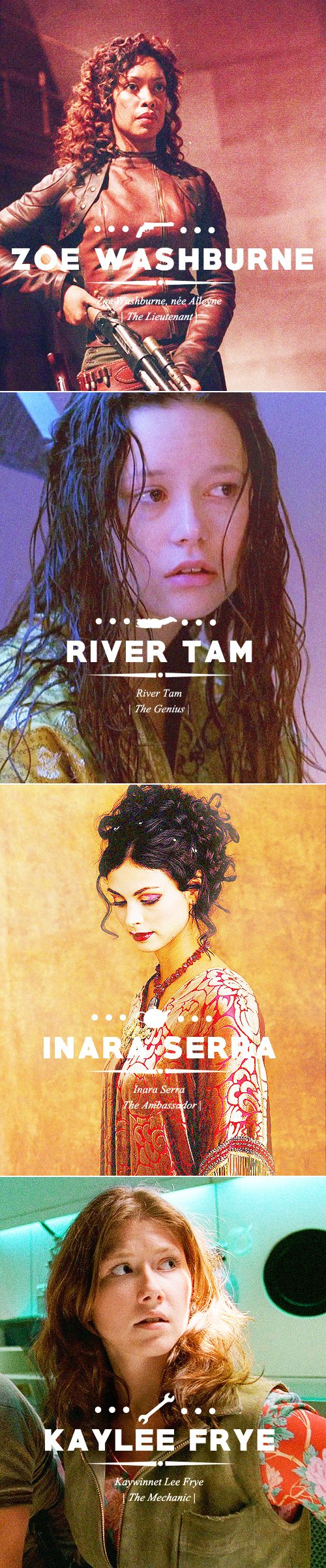 Zoe Washburne | River Tam | Inara Serra | Kaylee Frye #firefly