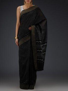 Black-Grey Silk Cotton Chanderi Bagru Printed with Ghicha Border Saree