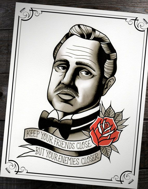 """The Godfather Don Corleone Traditional Tattoo Flash Print 11""""x14"""" (Other sizes available)"""