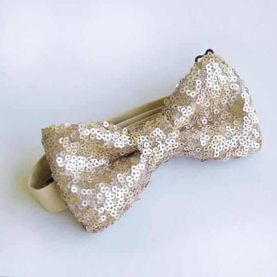 Champagne sequin bow tie is the perfect match for those trending sequin bridesmaid dresses!  https://www.etsy.com/listing/526520800/champagne-sequin-bow-tie-champgne-bow