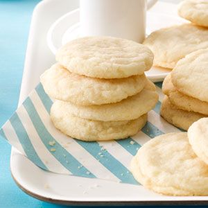 "Sugar Cookies Recipe -This sugar cookie recipe is truly an ""oldie,"" dating back to a Swedish woman born in 1877! Her daughter, Esther Davis, shared the recipe with me and she came up with all the exact measurements, since the original cookies were mixed by ""feel"" and taste. These are my favorite cookies and I hope they'll become yours as well. —Helen Wallis, Vancouver, Washington"