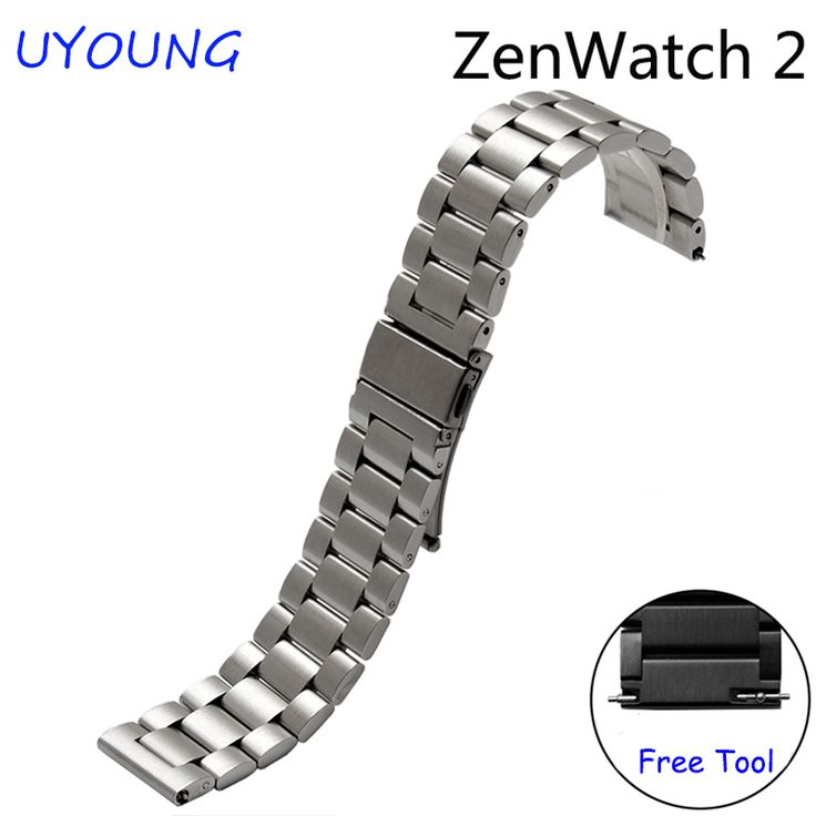 >> Click to Buy << For ASUS Zen Watch 2 Quality solid stainless steel watch bands 22mm Replacement steel strap black silver #Affiliate