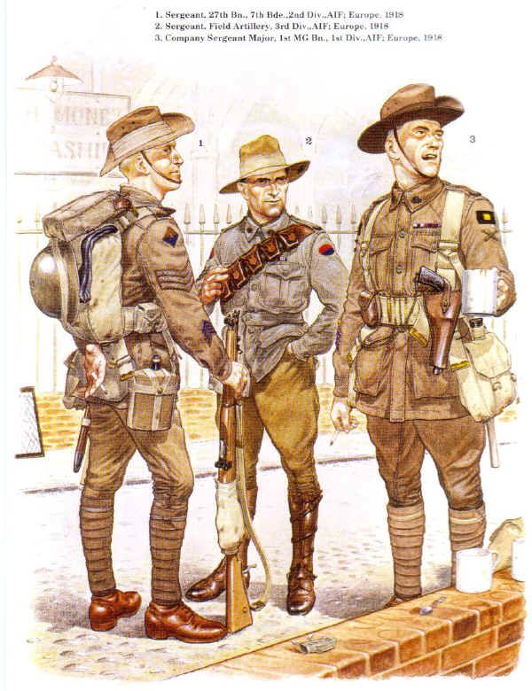 Three Australian soldiers, representing three of the five fighting Divisions of the Australian Imperial Force. From L to R: The 2nd Division (diamond shape shoulder patch), 3rd Division (oval shaped) and 1st Division (rectangular).