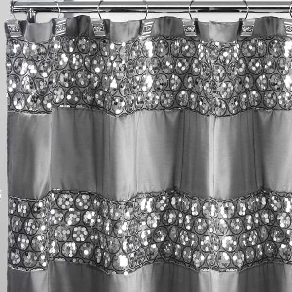 Luxury Shower Curtain And Hooks Set Or Separates With Images Silver Shower Curtain Fabric Shower Curtains Luxury Shower Curtain