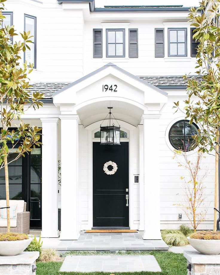 """1,553 Likes, 31 Comments - Brandon Architects (@brandonarchitects) on Instagram: """"•There's something so endearing about a traditional white home with a black door and shutters!•…"""""""