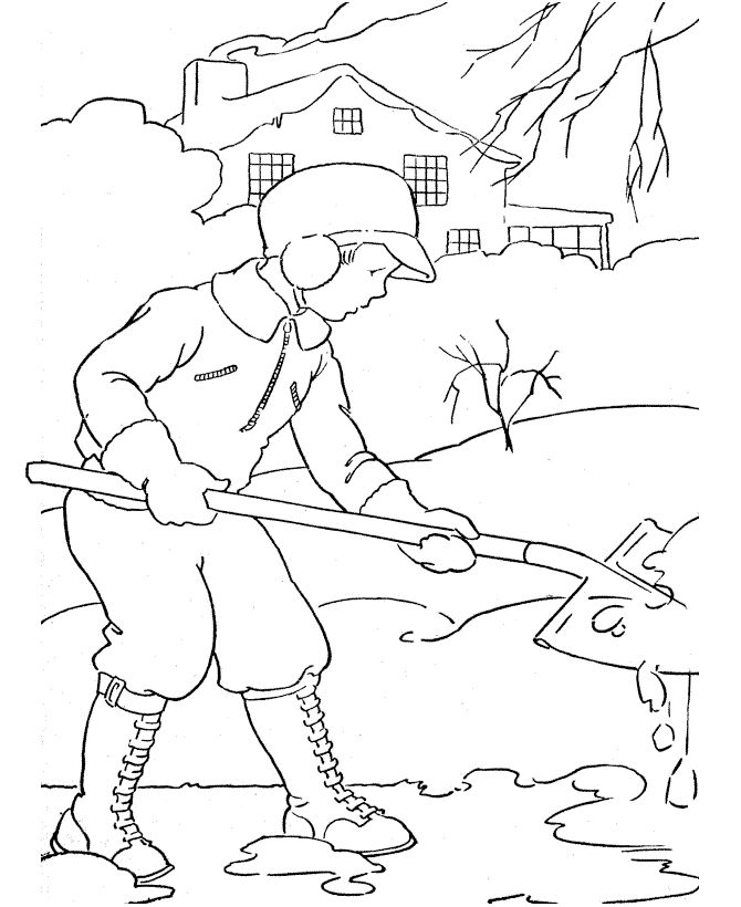 snowman shovel coloring pages - photo#22