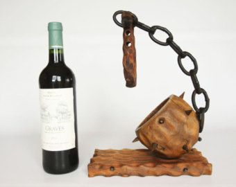 Wooden mace wine holder, weird oddity home decor, medieval odd spiked wine holder, horror home decor, creepy spooky barware, macabre decor