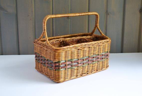Vintage Wicker Divided Storage Utensil Basket | Cutlery Paper Plate Napkin Holder | Picnic Potluck B