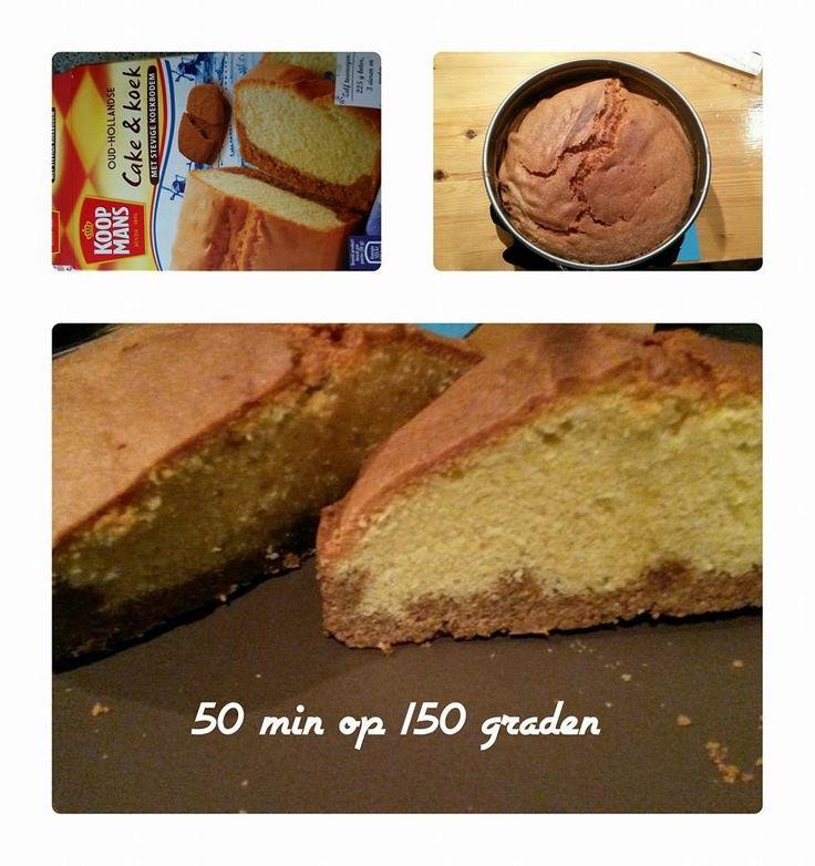 Koopmans cake en koek,  50 min.  Op 150 graden in Airfryer / maar  de hele verpakking laat nut in mijn kleine bakblik.....