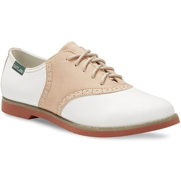 Eastland Sadie Saddle Women's Oxford Shoes ($85) ❤ liked on Polyvore featuring shoes, oxfords, white, plain toe oxford shoes, eastland shoes, oxford shoes, laced shoes and plain toe oxford