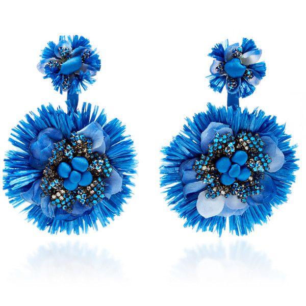 Ranjana Khan     Blue Drop Flower Fan Earrings ($395) ❤ liked on Polyvore featuring jewelry, earrings, blue, ranjana khan jewelry, earring jewelry, flower jewellery, ranjana khan and ranjana khan earrings