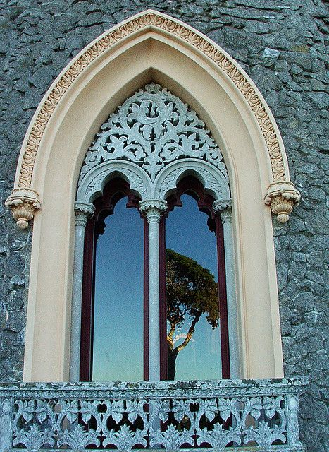 Portugal: Doors, Sintra Portugal, Blue, Beautiful Window, Colors, Balconies, Arches Window, Gothic Architecture, Church Window