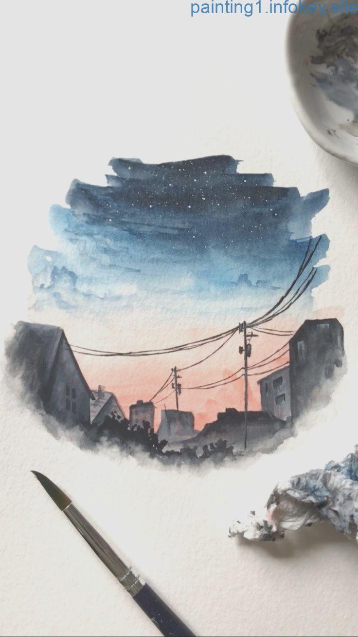 Lukisan Cat Air : lukisan, Watercolor, Night, Painting, Lukisan, Sederhana,