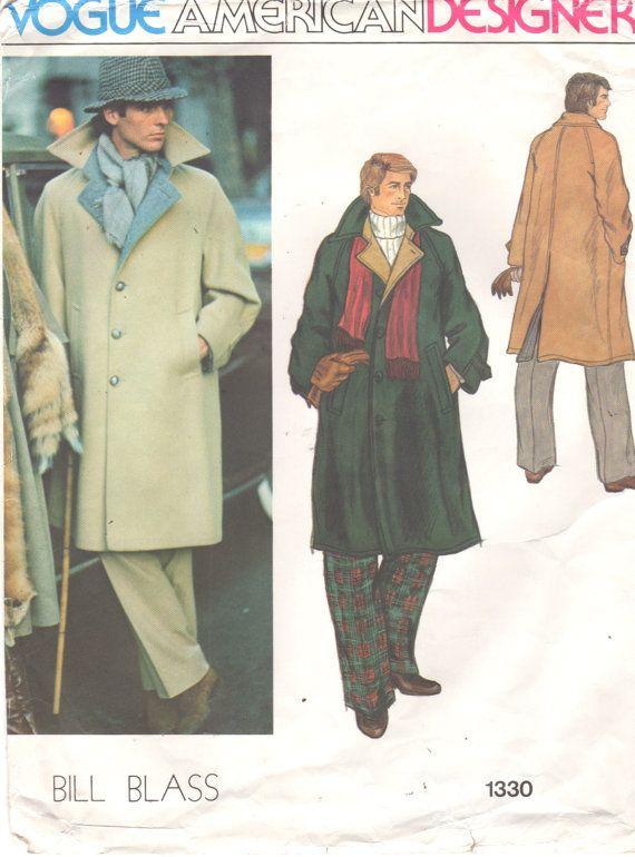 Vogue 1330 1970s Mens Designer COAT Pattern Overcoat Pattern Bill BLASS Adult  Vintage Sewing Pattern Chest 42 UNCUT