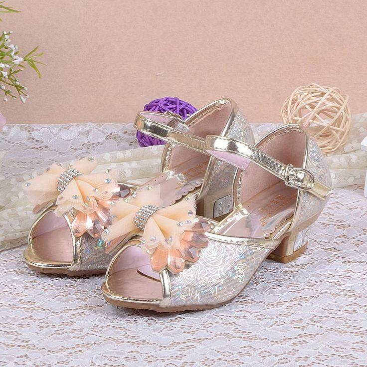 Девушки сандалии для детей высокие каблуки сандалии детей детская летняя принцесса кружево с бантом сухожилия в конце детей ну вечеринку обувь
